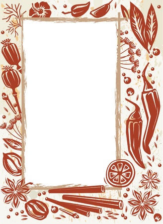 nutmeg: Frame with spice and herb Illustration