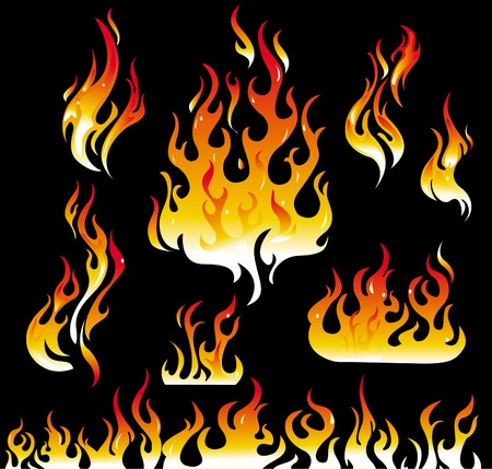 tongues of fire: Fire graphic elements on black background Illustration