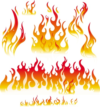 fire element: Fire graphic elements on white background