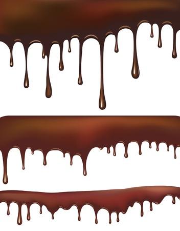 melt chocolate: Conjunto de gotas de chocolate Vectores
