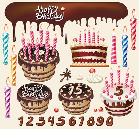 Set with Chocolate cakes and birthday decoration Stock Vector - 9745260