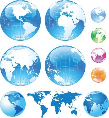 globo terraqueo: Globos de color brillantes y mapa Vectores