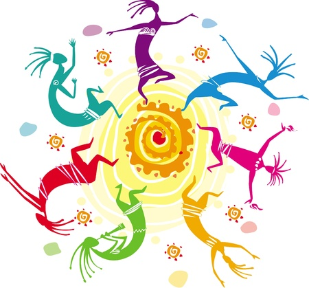 aboriginal: Color figures dancing in a circle Illustration