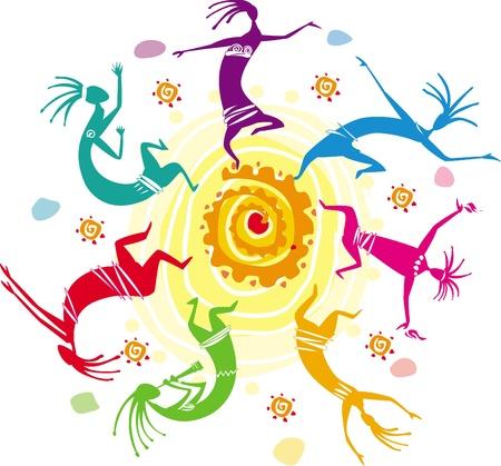 aborigen: Figuras de color bailando en un c�rculo