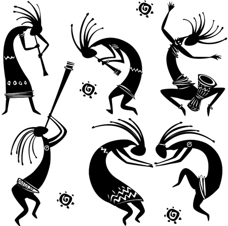 ethnic mix: Dancing figures Illustration
