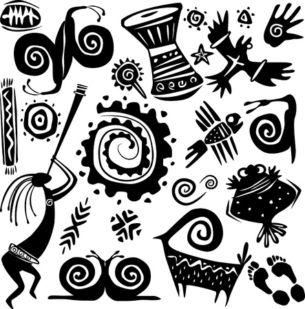 ethnic mix: Elements for designing primitive art Illustration