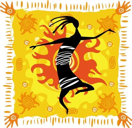 tribal dance: Dancing figure on an orange background Illustration