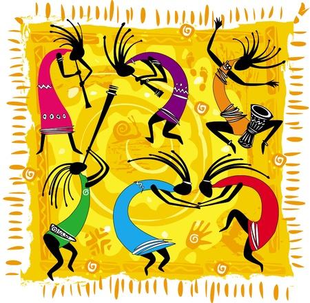 Dancing figures on an orange background Vector