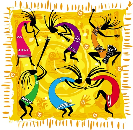 ethnic mix: Dancing figures on an orange background Illustration