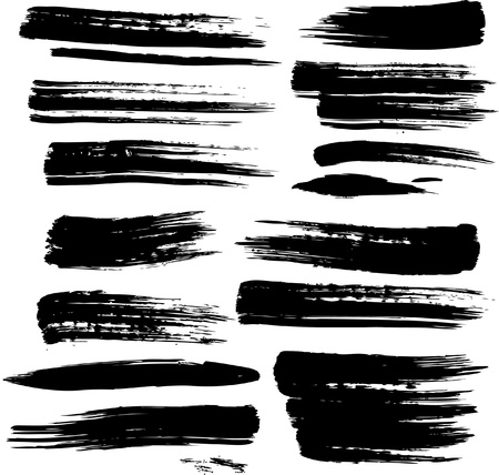 stroke: Set of grunge brush strokes Illustration