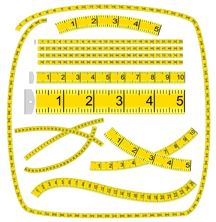 waist weight: Measuring tape. Art Brush. Illustration
