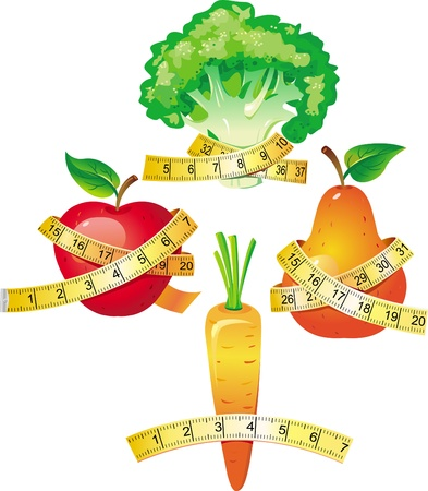 Légumes avec ruban à mesurer