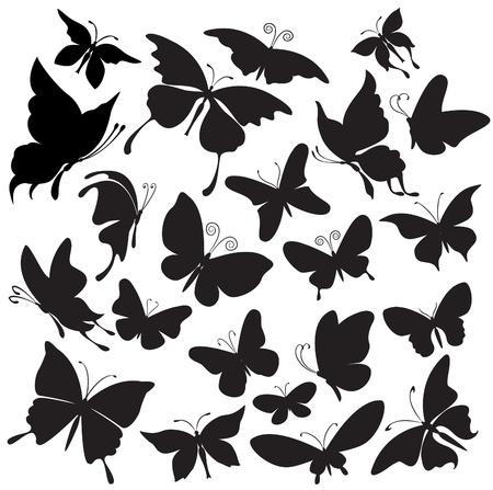 butterfly tattoo: Conjunto de siluetas de mariposas Vectores