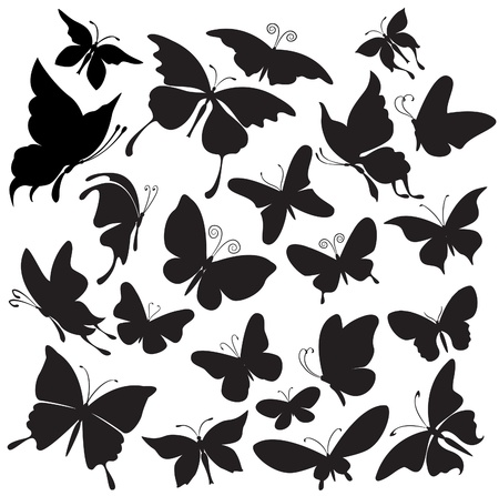 silhouette papillon: Jeu de silhouettes de papillons