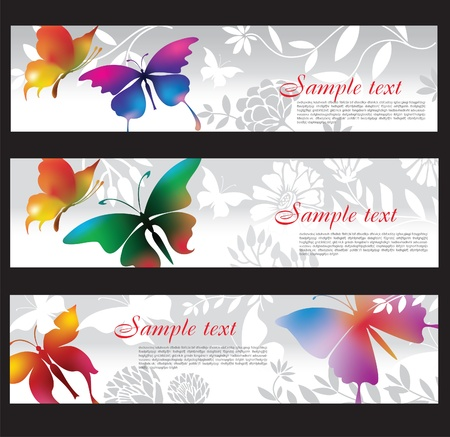 banners with colorful butterflies Stock Vector - 9941906