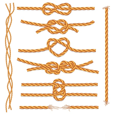 Set of ropes and knots Stock Vector - 9944423