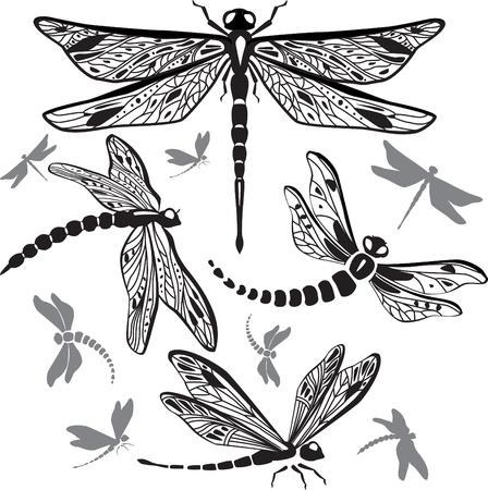 Set of decorative dragonflies Stock Vector - 9944595