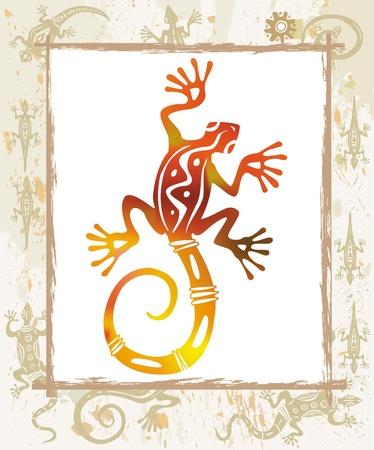 lizard: Lagarto de color en un marco