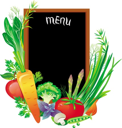 nutrition and health: Board menu with a group of vegetables