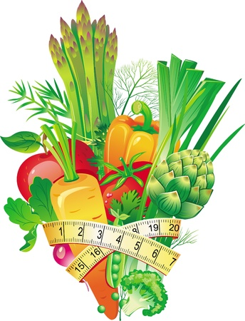 diet weight loss: Group of vegetables Illustration