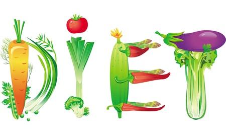 zapallo italiano: Dieta de la palabra hecha de vegetales frescos Vectores