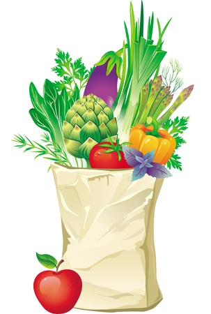 greengrocer: Shopping bag full of vegetables