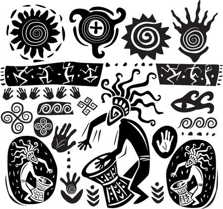 tribali: Insieme di elementi di arte primitiva Vettoriali