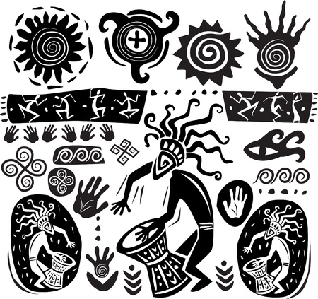 Set of elements of primitive art Illustration