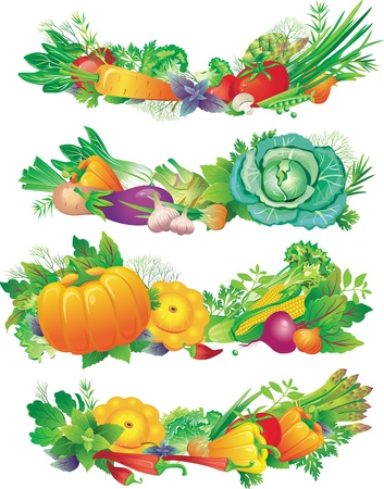 banners with vegetables