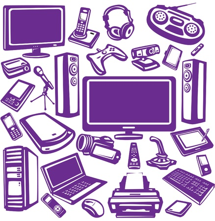 computer printer: Set of computer and electronics equipment