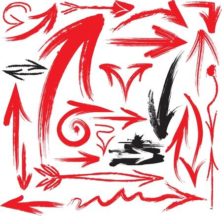 flecha derecha: conjunto de flechas manuscritas