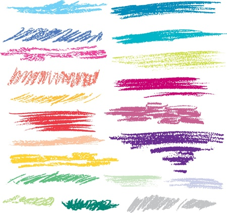 a brush: Set of colored brush strokes