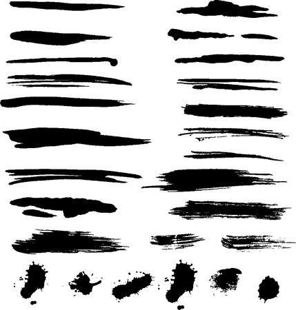 paint drips: Grunge brush strokes  Illustration