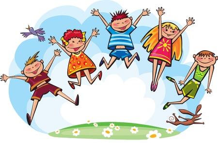 deportes caricatura: Saltando los niños