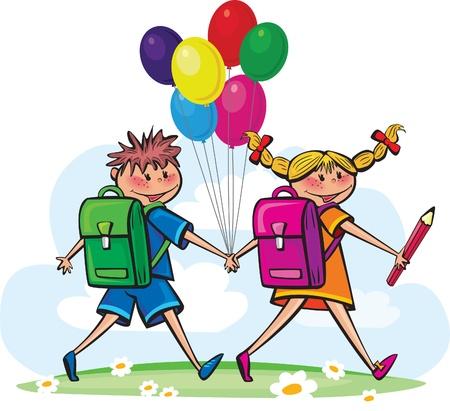 niños saliendo de la escuela: Los niños van a la escuela Vectores