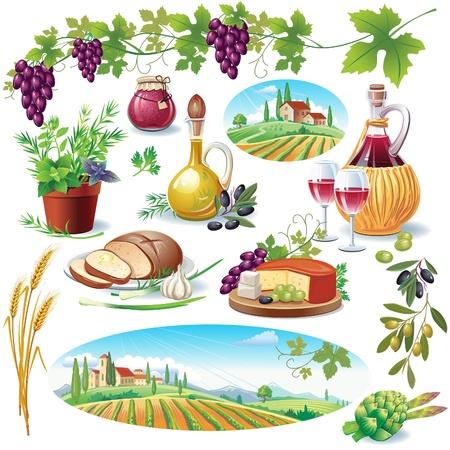 pan y vino: Conjunto de alimentos