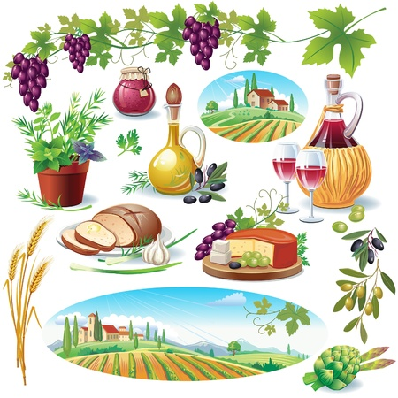 tuscany landscape: Set of food Illustration