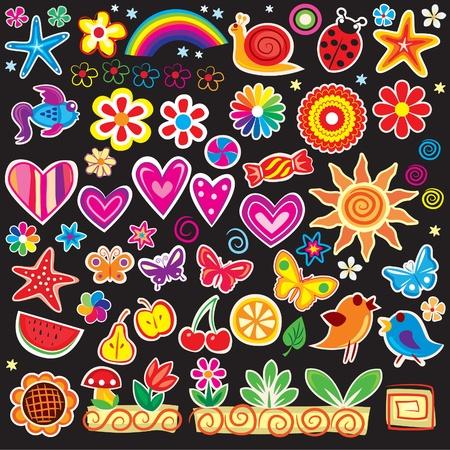 cartoon summer: Set of cheerful sticker Illustration