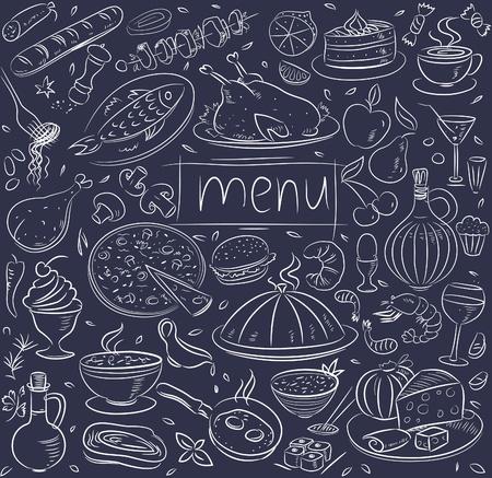 Food sketch on black Stock Vector - 10942975