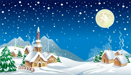 Christmas night in the village Stock Vector - 10993619
