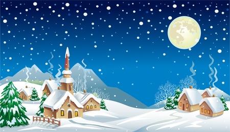 schneelandschaft: Weihnachtsnacht im Dorf
