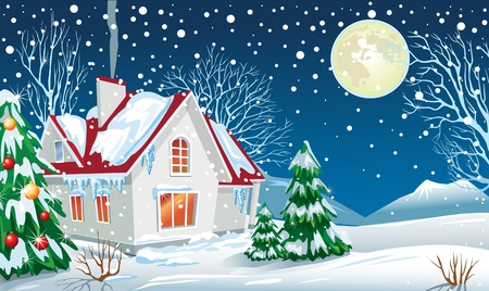 Winter landscape with a house Stock Vector - 10993622