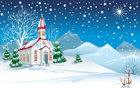 Winterlandschap met kerk Vector Illustratie