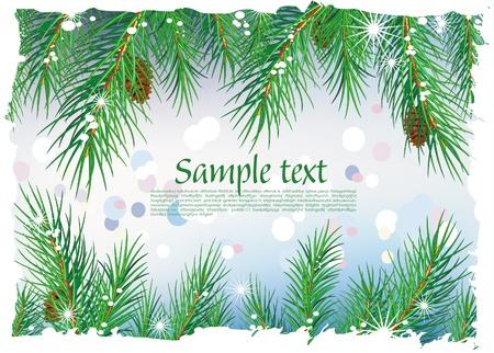 seasons greetings: Framework da rami di pino Vettoriali
