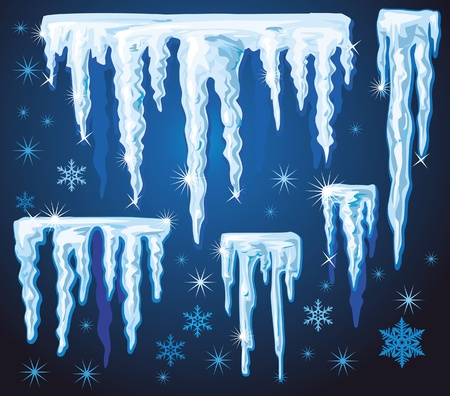 water frozen: Set of vector icicles for design Illustration