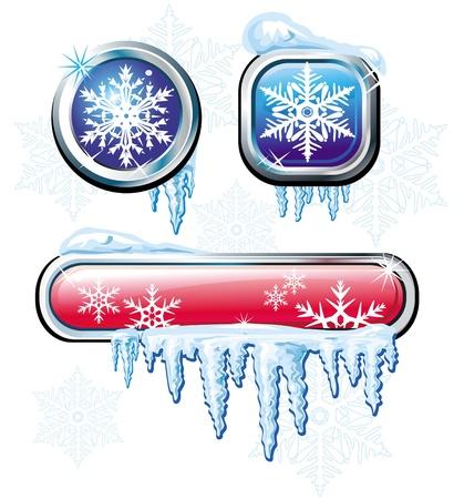 Winter buttons Vector