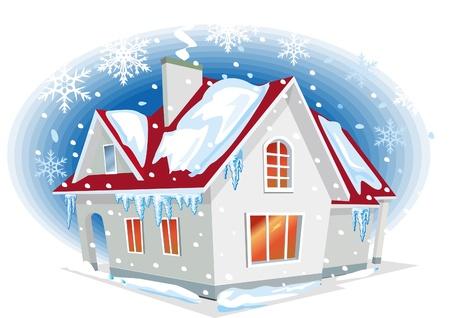 construct: Winter huis Stock Illustratie