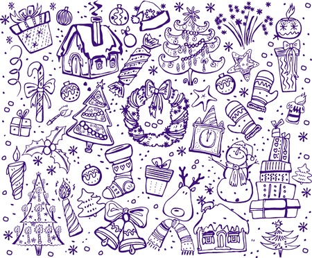 New year and christmas christmas sketch Vector