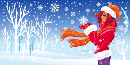 Winter girl and snowfal Illustration