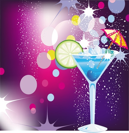 garnish: Cocktail on defocused illumination background